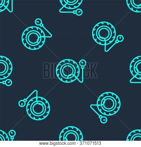 Green Line Tire Pressure Gauge Icon Isolated Seamless Pattern On Blue Background. Checking Tire Pres