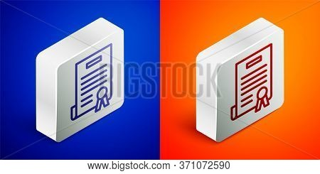 Isometric Line Declaration Of Independence Icon Isolated On Blue And Orange Background. Silver Squar