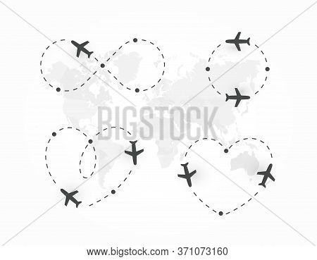 Airplane Dotted Route, Icon Set. Plane Silhouette And Flight Path. Path Direction Loop, Shape Of Hea