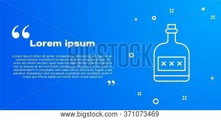 White Line Alcohol Drink Rum Bottle Icon Isolated On Blue Background. Vector Illustration