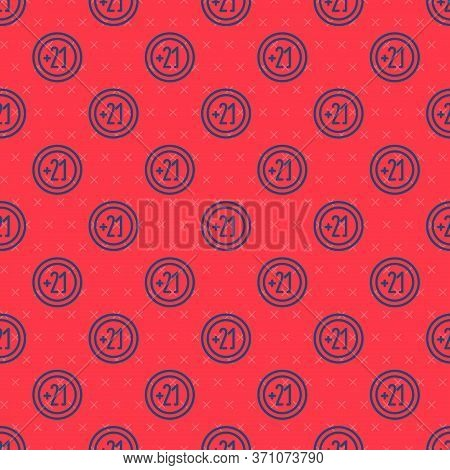 Blue Line Alcohol 21 Plus Icon Isolated Seamless Pattern On Red Background. Prohibiting Alcohol Beve