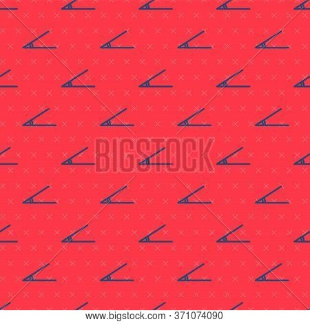 Blue Line Acute Angle Of 45 Degrees Icon Isolated Seamless Pattern On Red Background. Vector Illustr