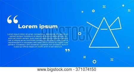 White Line Light Rays In Prism Icon Isolated On Blue Background. Ray Rainbow Spectrum Dispersion Opt