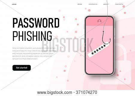 Password Phishing. Fishing Rod Hook Catches The User Info And His Password.