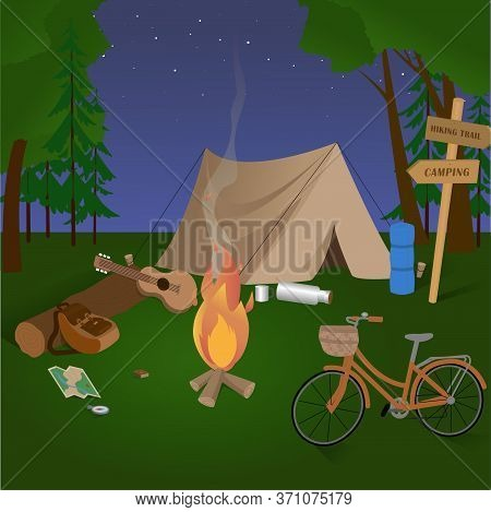 Summertime Camping In Forest. Camp And Hiking Equipment And Gear. Camping And Traveling. Tourism. Ad