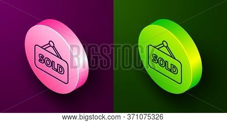 Isometric Line Hanging Sign With Text Sold Icon Isolated On Purple And Green Background. Sold Sticke