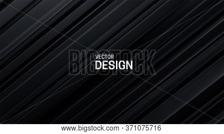 Black Sliced Surface. Abstract Geometric Background. Vector Illustration. Random Carbon Layers Patte
