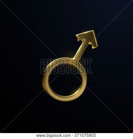 Golden Mars Sign Isolated On Black Background. Vector 3d Illustration. Male Symbol. Masculinity Conc