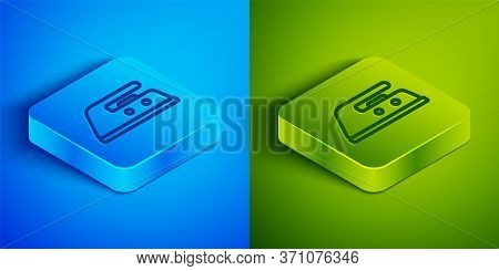 Isometric Line Electric Iron Icon Isolated On Blue And Green Background. Steam Iron. Square Button.