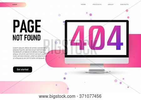 Lost Page 404 Error, Landing Page Template. 3d Realistic Mockup Of Desktop With 404 Error Page.