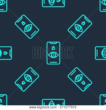 Green Line Eye Scan Icon Isolated Seamless Pattern On Blue Background. Scanning Eye. Security Check