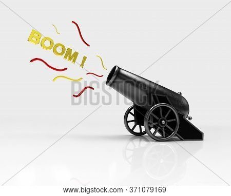 Circus Cannon Shooting Boom. Vintage Gun. Color Image Of Medieval Cannon Firing On A White Backgroun