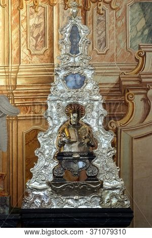 ZAGREB, CROATIA - MAY 16, 2013: The reliquary with the relics of St. Francis Xavier, main altar in the Church of Saint Catherine of Alexandria in Zagreb, Croatia