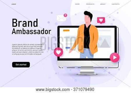 Brand Ambassador Illustration Concept With Man On The Desktop Screen Who Represent Brand Company.