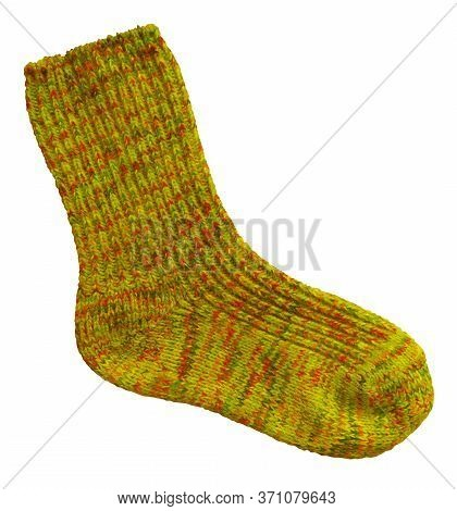 Yellow Woolen Sock Isolated On White Background. Clipping Path Included.