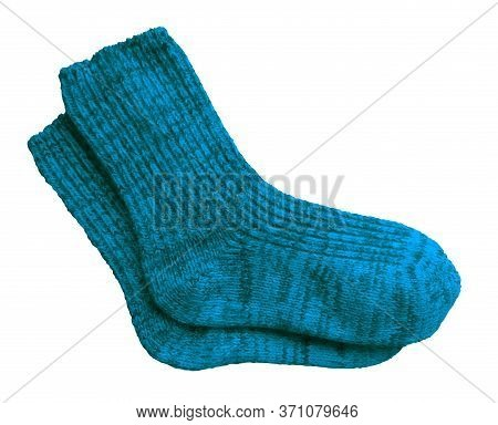 Blue Pair Of Woolen Socks Isolated On White Background. Clipping Path Included.