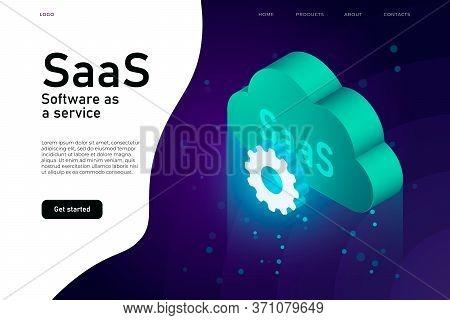 Software As A Service Saas Program. It Mainframe Infrastructure Website Header. Saas Network Website