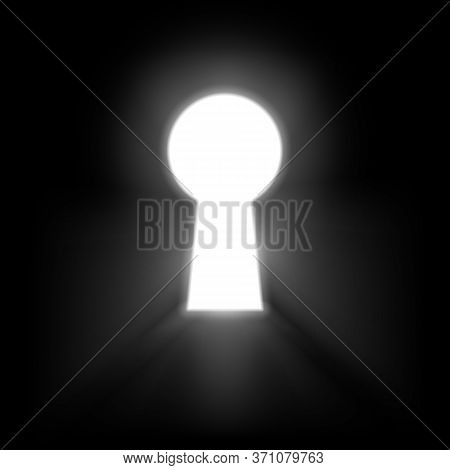 Keyhole Illuminated Rays Of Light Isolated On Black Background. White Keyhole Symbol Of Hope Or Succ