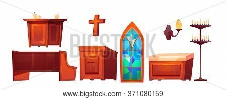 Catholic Church Inside Interior Stuff Glass Stained Window, Altar And Wooden Bench, Cross, Tribune,