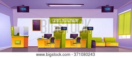 Bank Office Interior With Cash Box, Staff Desk And Reception Counter. Vector Cartoon Illustration Of