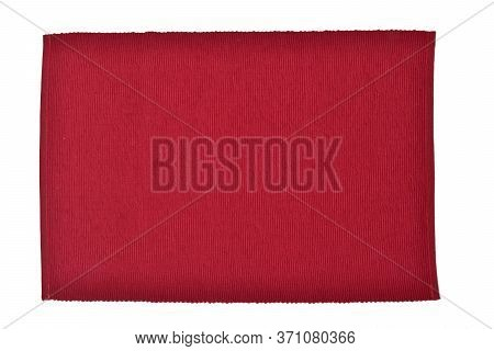 Top View Of Cotton Placemat Isolated On White Background