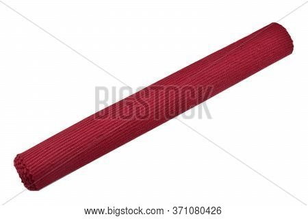 Red Cotton Placemat Rolled On A White Background