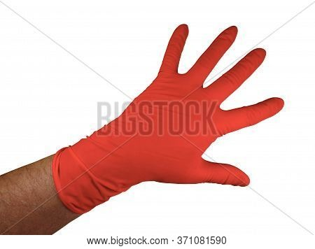 Red Medical Rubber Gloves, Isolated On White Background. Clipping Path Included.