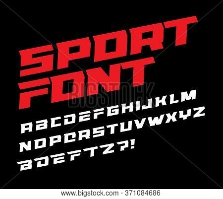 Sport Font Bold Italic Letters With Dynamic Slant And Geometric Cut For Speed Race, Battle, Fast Del