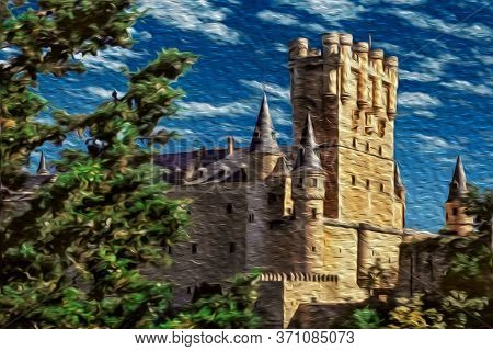 Alcazar Of Segovia Facade With Large Tower And Conical Roofs In A Sunny Day At Segovia. An Ancient C