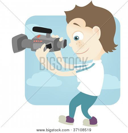 Cartoon Character Cute Teenager Isolated on White Background. Cameraman. Vector EPS 10.