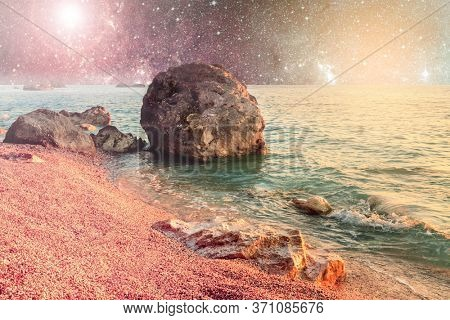 Alien planet with water and galaxy stars. Astronomy wallpaper of fantasy galactic extraterrestrial landscape
