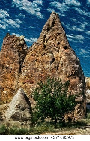 Curious Geological Landscape Of Rocky Crags Eroded By Weather In Cappadocia. Located In The Turkish