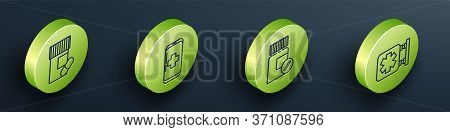 Set Isometric Medicine Bottle And Pills, Emergency Mobile Phone Call To Hospital, Medicine Bottle An