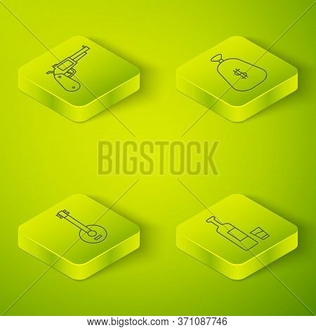 Set Isometric Money Bag, Banjo, Whiskey Bottle And Glass And Revolver Gun Icon. Vector