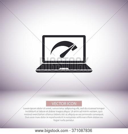 Speed Test Laptop Vector Icon , Lorem Ipsum Flat Design