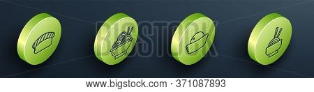Set Isometric Sushi, Asian Noodles In Bowl, Sushi And Asian Noodles In Bowl Icon. Vector