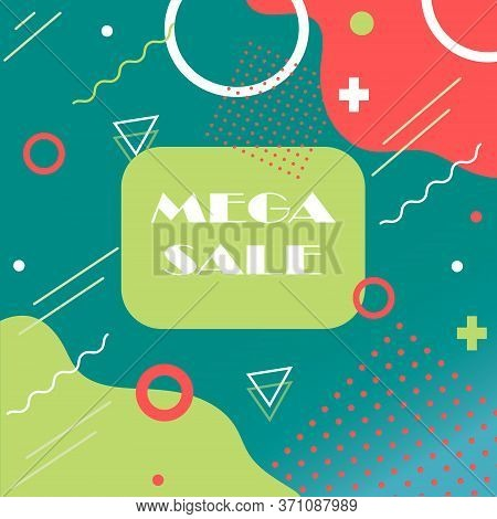 Memphis Style Card Design. Colorful Patterns With Geometric Shapes, Patterns With Trendy Memphis 80s