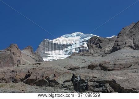 View On Slopes Of Mountain Kailash From Pilgrimage Trekking Path Around The Mountain, Tibet, Asia