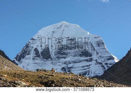View On Snowy Slopes Of Mountain Kailash From Pilgrimage Trekking Path Around The Mountain, Tibet, A