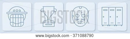 Set Line Hockey Helmet, Hockey Mask, Award Cup And Locker Or Changing Room. White Square Button. Vec