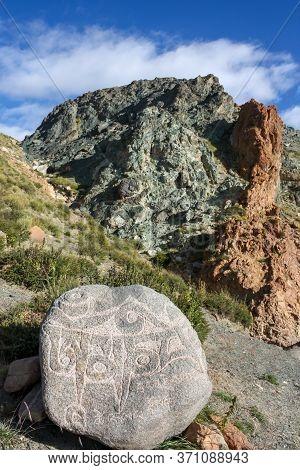 Carved Colurful Rocks On Trekking Kora Around Mountain Kailash Day 1 Pilgrimage Route Near Darchen,