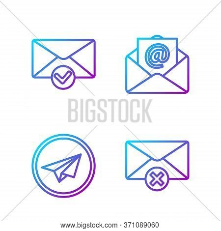 Set Line Delete Envelope, Paper Plane, Envelope And Check Mark And Mail And E-mail. Gradient Color I