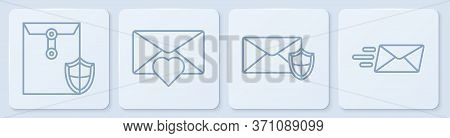 Set Line Envelope With Shield, Envelope With Shield, Envelope With Valentine Heart And Express Envel