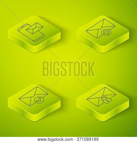 Set Isometric Received Message Concept, Envelope And Check Mark, Mail Message Lock Password And Mobi