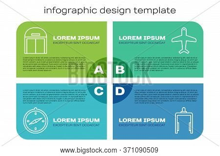 Set Line Compass, Aircraft Hangar, Metal Detector In Airport And Plane. Business Infographic Templat