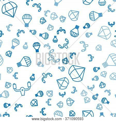 Set Line Aircraft Steering Helm, Parachute And Box Flying On Parachute On Seamless Pattern. Vector