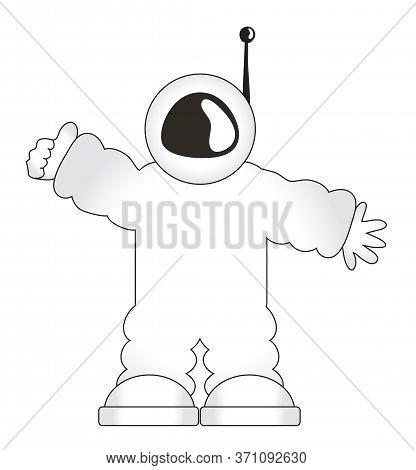 Cartoon Astronaut In A Spacesuit. Vector Illustration