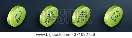Set Isometric Light Emitting Diode, Exclamation Mark In Triangle, High Voltage And Light Emitting Di