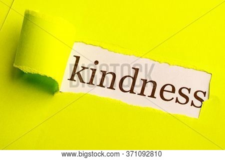 On A Light Green Paper Background, A Piece Of Kindness Was Torn Out Under It. Discover Kindness In Y
