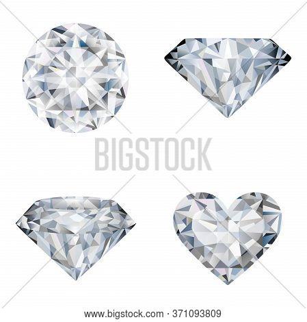 Diamond Isolated On White Background. Set Of Diamonds.